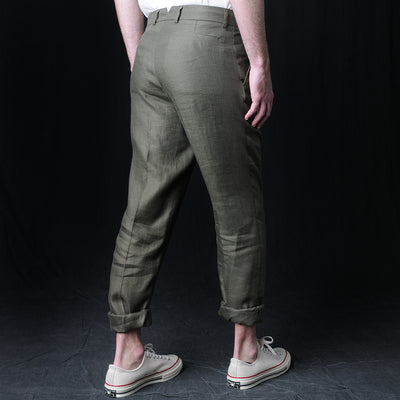 De Bonne Facture - Italian Linen Twill One Pleat Trouser in Forest Green