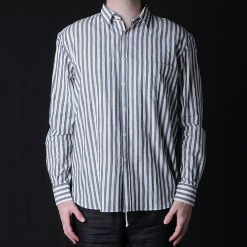 Japanese Cotton Linen Oversize Shirt in White & Navy Wide Stripe