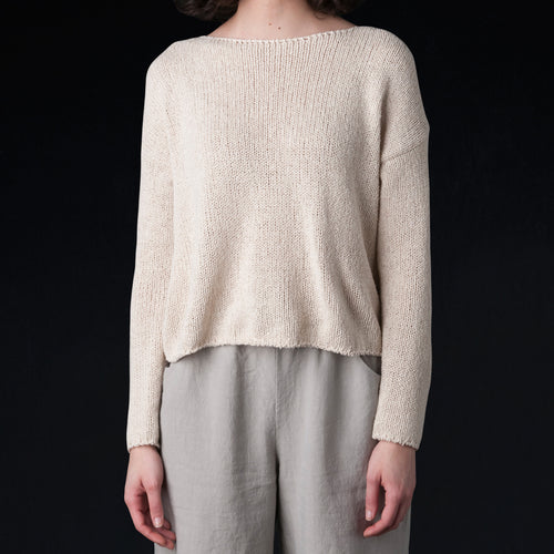 Low Gauge Silk Boat Neck Pullover in Ecru
