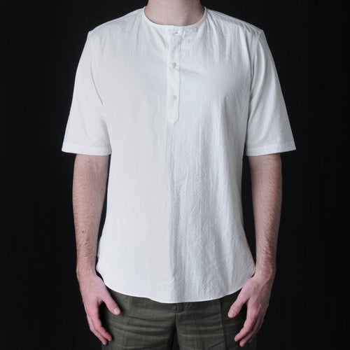Japanese Cotton Seersucker Woven Henley in White