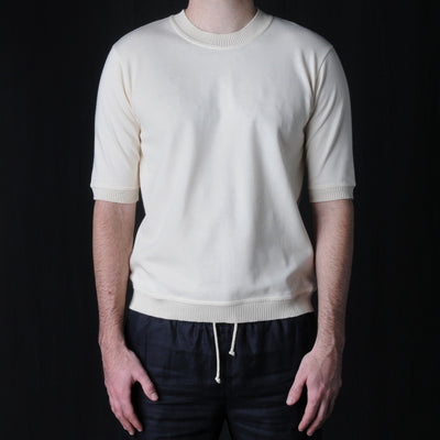 De Bonne Facture - French Combed Cotton Half Sleeve Tee in Ecru