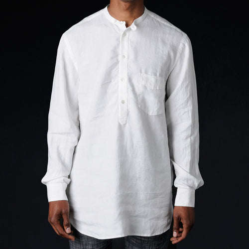 Arthur Collarless Pull On Shirt in White