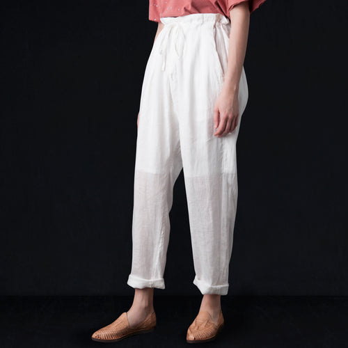 Light Linen Drop Crotch Pants in White