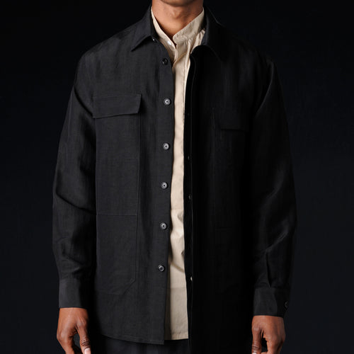 Washed Cotton Linen Architect Overshirt in Black
