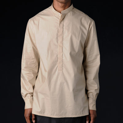 Deveaux - Cotton Poplin Tunic Shirt in Taupe