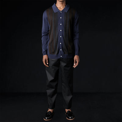 Deveaux - Silk Long Sleeve Resort Shirt in Navy Walnut & Grey