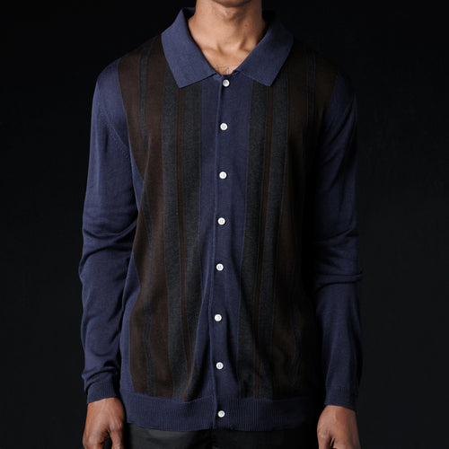 Silk Long Sleeve Resort Shirt in Navy Walnut & Grey