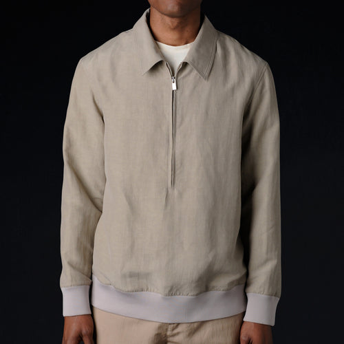 Dyed Silk Linen Pullover in Taupe
