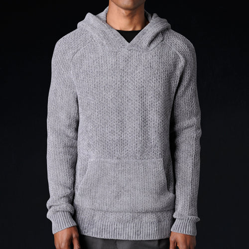 Chenille Hoodie in Medium Grey