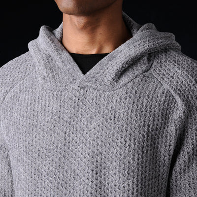 Deveaux - Chenille Hoodie in Medium Grey