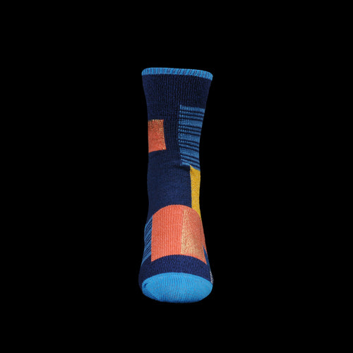 96 Yarn Foil Print Patchwork Short Sock in Blue