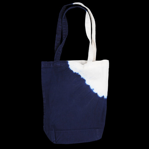 Sleek Cotton IDG Shibori Dye Thunderbird Smoke Eco Bag in Indigo