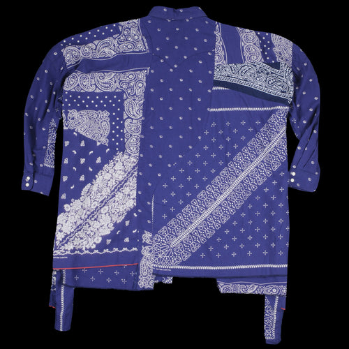 Elephant Dot Gauze Bandana Remake Big Western Shirt in Purple