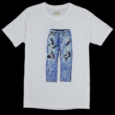 Kapital - Jersey Crash Denim Crew Tee in White