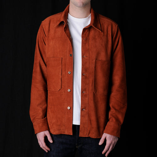 Suede Overshirt with Patch Pockets in Rust
