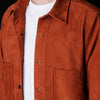 Golden Bear - Suede Overshirt with Patch Pockets in Rust