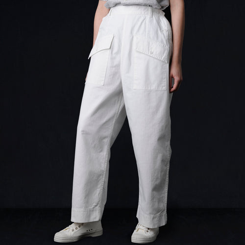 Herringbone US Army Nurse Pant in Off White