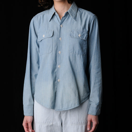 5oz Selvedge Chambray Work Shirt in Used Wash