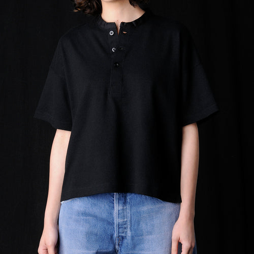 Cotton Boucle Henley Top in Black