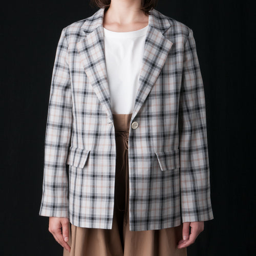 Miso Tailored Jacket in Ivory & Black Pinstripe
