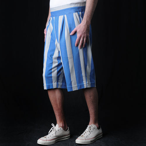 Inlay Stripe Knit Short in Blue & White
