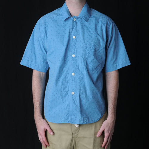 Dot Jacquard Short Sleeve Shirt in Blue