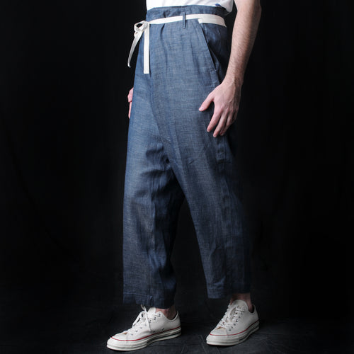 Linen Denim Easy Pant in Indigo