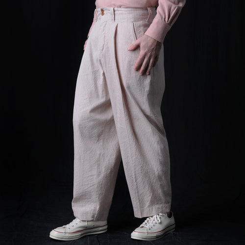 Seersucker Stripe Pleated Trouser in Beige & Pink
