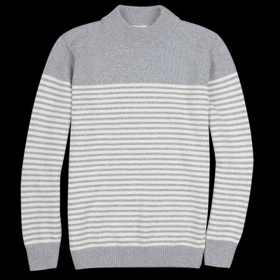 Far Afield - Combin Stripe Knit Sweater in Eiffel Grey & Gravel
