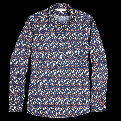 Far Afield - Mod Button Down L/S Shirt in Leaves