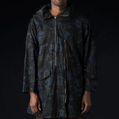 Realtree Camo Ripstop 2 Line Zip Hooded Coat in Navy