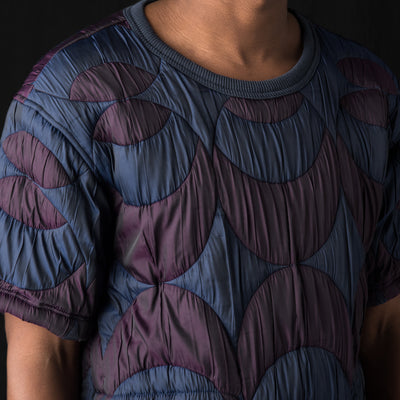 Ts(S) - Circle Jacquard Short Sleeve T-Shirt Jacket in Blue & Purple