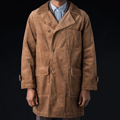 High Low Corduroy Off-center Front Patch Flap Pocket Coat in Light Brown