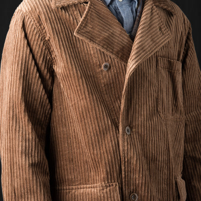 Ts(S) - High Low Corduroy Off-center Front Patch Flap Pocket Coat in Light Brown