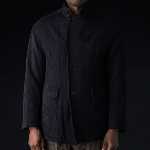 Dobby Boa Lined Square Hem Jacket in Navy
