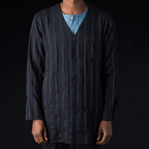Wool Combination Long Cardigan Shirt in Navy