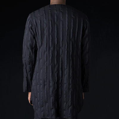 Ts(S) - Wool Combination Long Cardigan Shirt in Navy