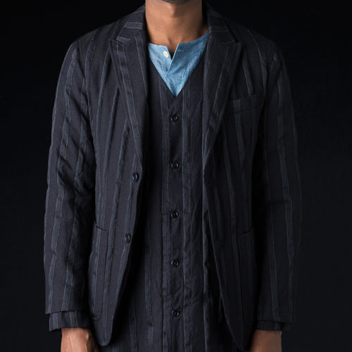 Wool Combination 2 Button Peaked Lapel Jacket in Navy