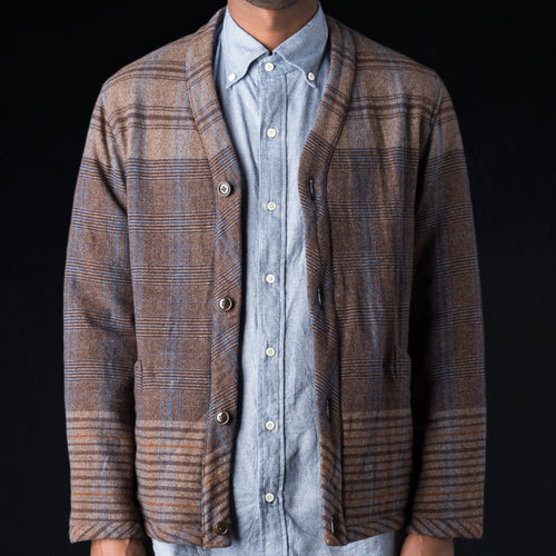"40"" Repeating Plaid Soft Wool Flannel Cardigan Jacket in Brown"