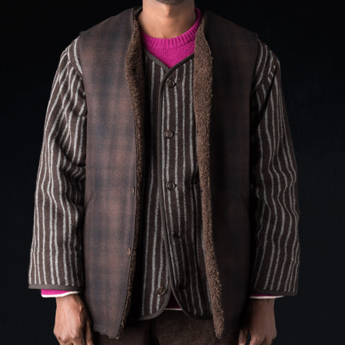 Almost Solid Plaid Melton Boa Lined Long Vest in Dark Brown