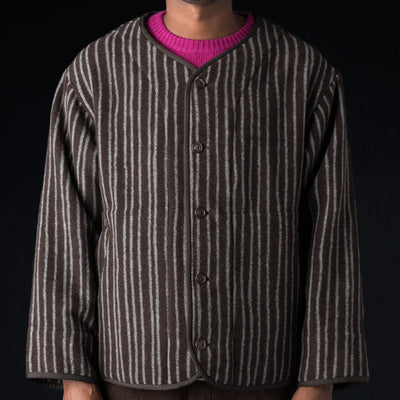 Ts(S) - Stagger Stripe Wool Cashmere Blanket Piping Collarless Jacket in Dark Brown