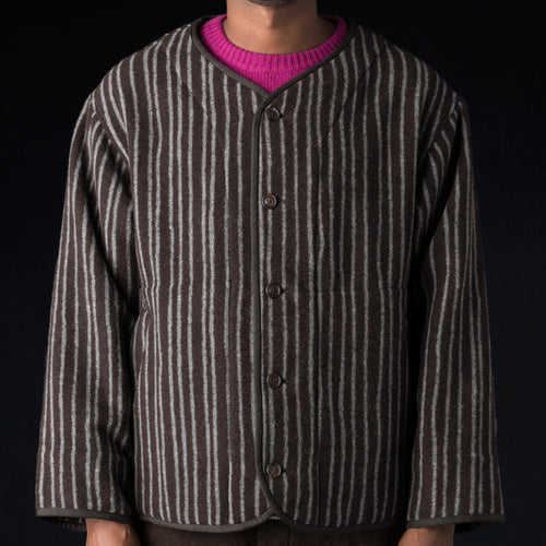 Stagger Stripe Wool Cashmere Blanket Piping Collarless Jacket in Dark Brown