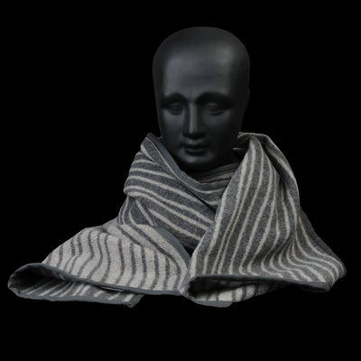 Ts(S) - Stagger Stripe Wool Cashmere Blanket Piping Stole in Grey