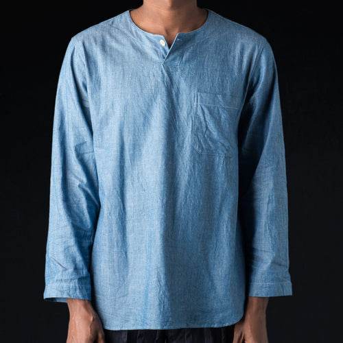 Indigo Cotton Twill Henley Neck Shirt in Blue