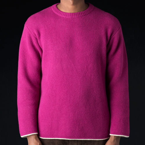 Cooma Lambswool Cotton Double Face Crew Neck Sweater in Pink Purple