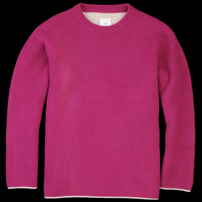 ts(s) - Cooma Lambswool Cotton Double Face Crew Neck Sweater in Pink Purple