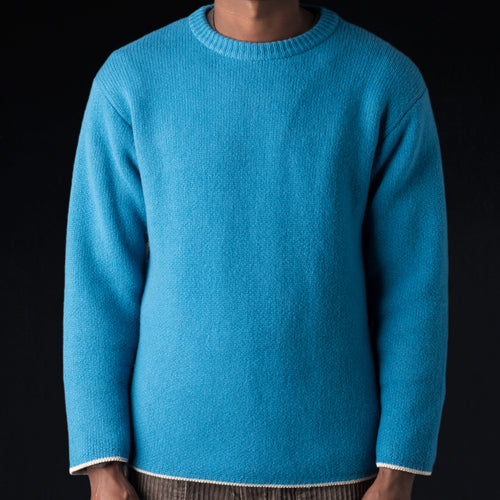 Cooma Lambswool Cotton Double Face Crew Neck Sweater in Blue