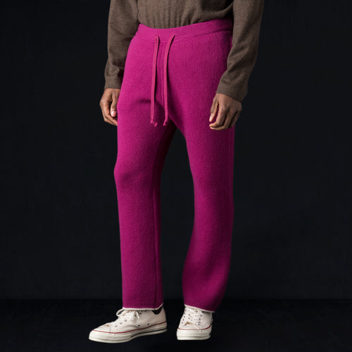 Cooma Lambswool Cotton Double Face Knit Pant in Pink Purple