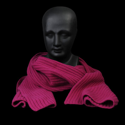 Ts(S) - Cooma Lambs Wool Cotton Double Face Ribbed Knit Muffler in Pink Purple