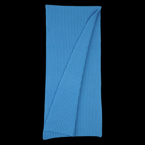 Cooma Lambs Wool Cotton Double Face Ribbed Knit Muffler in Blue